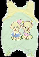Песочник-майка с вышивкой, кнопки на внизу, тонкий хлопок (мультирипп), ТМ ЛиО, р. 62, 68, Украина