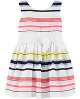 Детское нарядное платье в полоску Carters 3Т для девочки рост 93-98 см Картерс праздничное красивое платьице