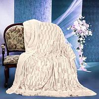Пушистое покрывало одеяло травка цвет светло-бежевый