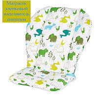 Вкладыш - матрасик хлопковый в детскую коляску, стульчик для кормления и автокресло (Африканские животные)
