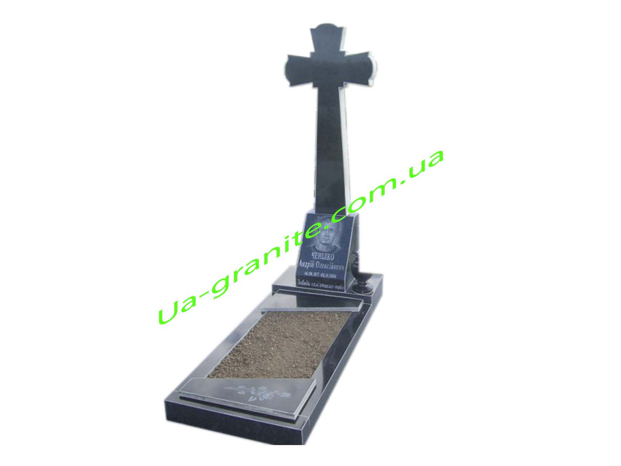 Хрест на могилу із чорного граніту комплект із тумбою та квітником