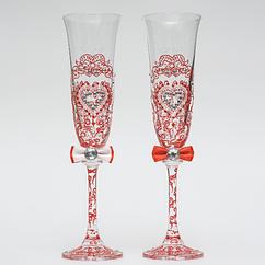 Свадебные бокалы Ажур красные