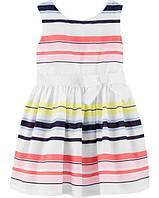 Детское нарядное платье в полоску Carters 5Т для девочки рост 93-98 см Картерс праздничное красивое платьице