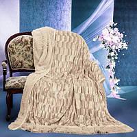 Пушистое покрывало одеяло травка цвет бежевый, фото 1