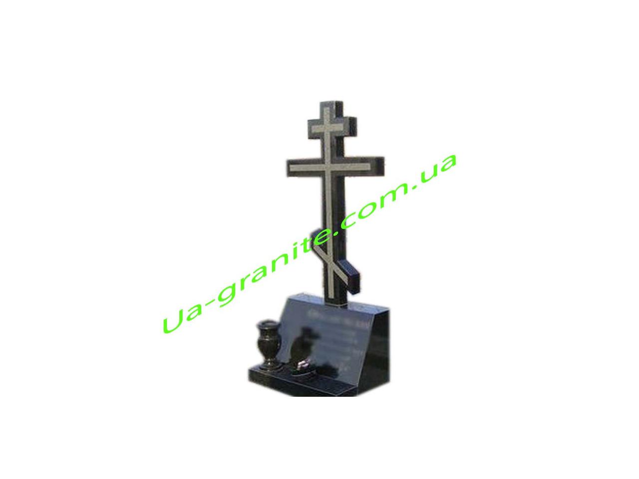 Об'ємний хрест на могилу із чорного граніту комплект