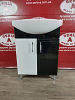Тумба с умывальником Cersania 55 Т-1\4 (черная)+ Сифон в подарок