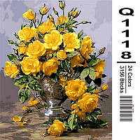 Картина по номерам Mariposa Желтые розы в серебряной вазе 40Х50 см Q1118