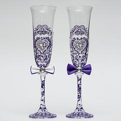 Свадебные бокалы Ажур синий