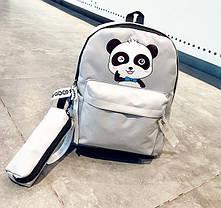 Стильний тканинний рюкзак з пеналом та принтом панди, фото 3
