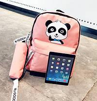 Стильный тканевый рюкзак с пеналом и принтом панды, фото 2