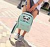 Стильный тканевый рюкзак с пеналом и принтом панды, фото 5