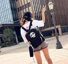 Стильний тканинний рюкзак з пеналом та принтом панди, фото 2