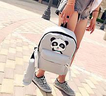 Стильный тканевый рюкзак с пеналом и принтом панды, фото 3