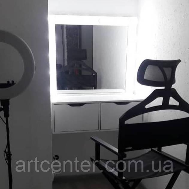 Навесной стол для визажиста с вместительными ящиками