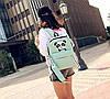 Стильный тканевый рюкзак с пеналом и принтом панды, фото 6