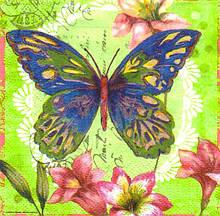 Салфетки декупажные Бабочка и лилии 4610