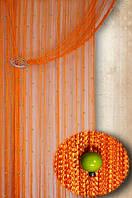 """Шторы нити """"Декарт""""  03+15 ( оранжевая нить+салатовые бусины)"""
