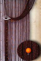 """Шторы нити """"Декарт"""" 08+3 ( шоколадная нить+оранжевые бусины)"""