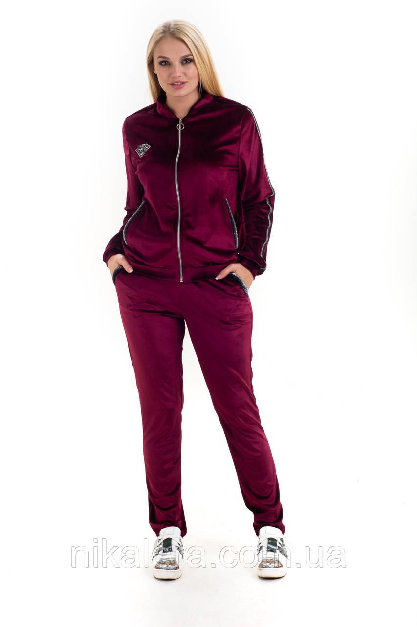 Женский велюровый костюм с тесьмой рр 46-54