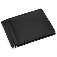 Кожаный зажим для денег без кнопки Crez-41 (черный)
