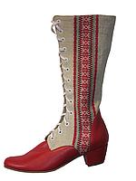 """Обувь из конопли женская. Сапоги Подсолнух """"Красный орнамент"""""""