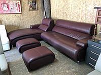 """Угловой кожаный бордовый диван """"Дрезден"""""""