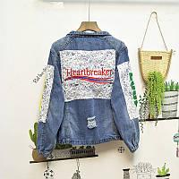 Женская джинсовая куртка Heartbreaker с кружевом и нашивками, фото 1