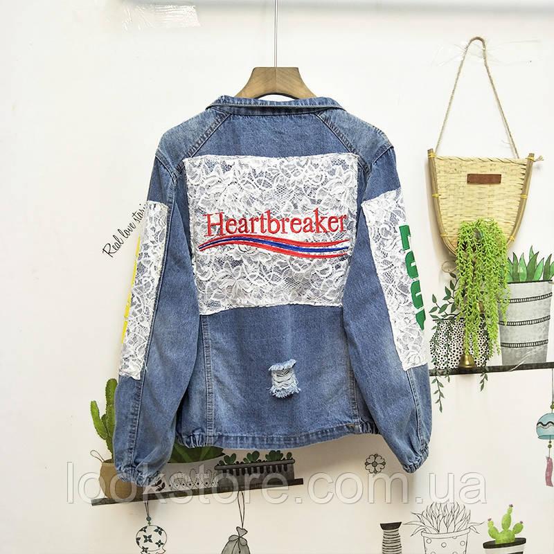 Женская джинсовая куртка Heartbreaker с кружевом и нашивками