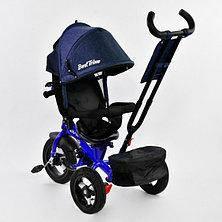 Детский трехколесный велосипед с пультом Best Trike 7700 B 2280 поворотное сиденье, надувные колеса