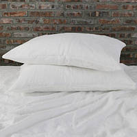 Белое льняное постельное белье 215х155