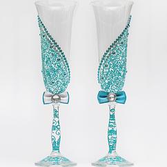 Свадебные бокалы Ажур бирюзовые