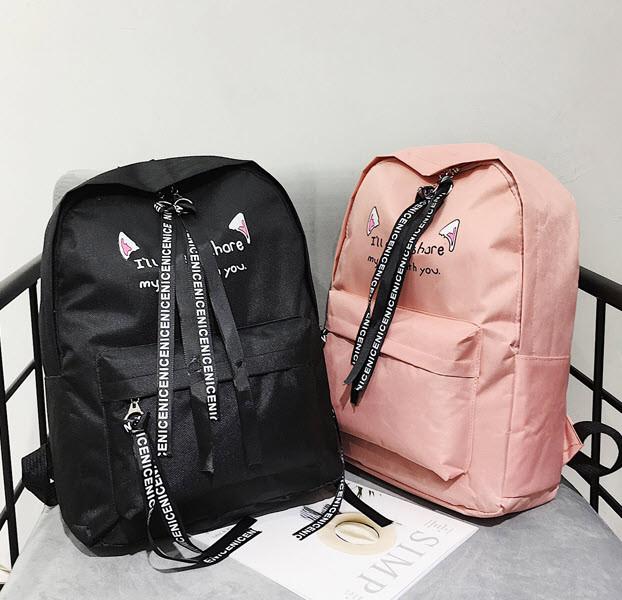 Большой тканевый рюкзак с надписью и принтом ушек