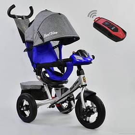 Дитячий триколісний велосипед з пультом Best Trike 7700 B 3904 поворотне сидіння, надувні колеса