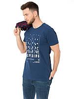 Синяя мужская футболка Lc Waikiki / Лс Вайкики с надписью Inspiring