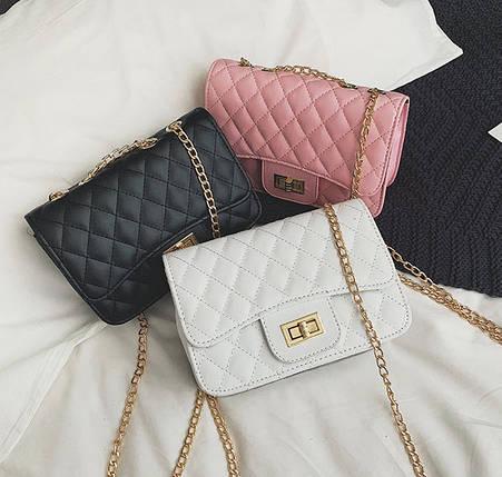 Стеганая Fashion сумка клатч на цепочке, фото 2