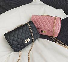 Стеганая Fashion сумка клатч на цепочке, фото 3