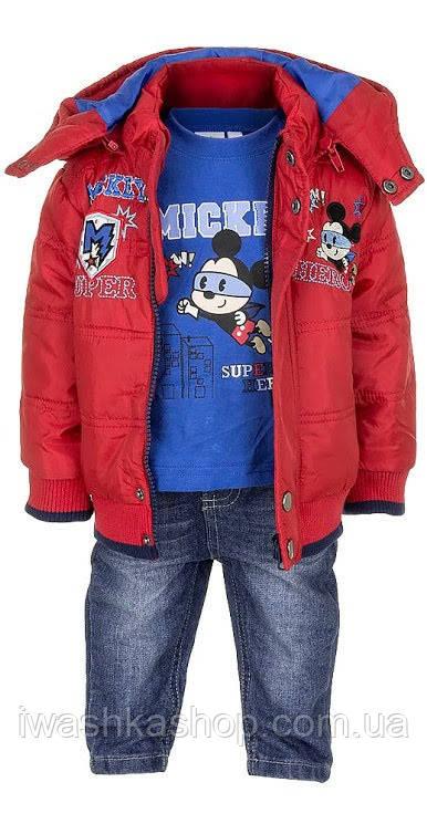 Демісезонний костюм на хлопчика, бомбер, лонгслив, джинси з Міккі Маусом, р. 74 на 12 місяців, Disney baby