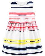 Детское сатиновое платье в полоску Carters 12М для девочки рост 72-76 см Картерс нарядное красивое платьице