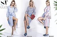Платье-туника  в полоску Ткань турецкий лён  С, М, Л   Цвета - на фото, фото 1