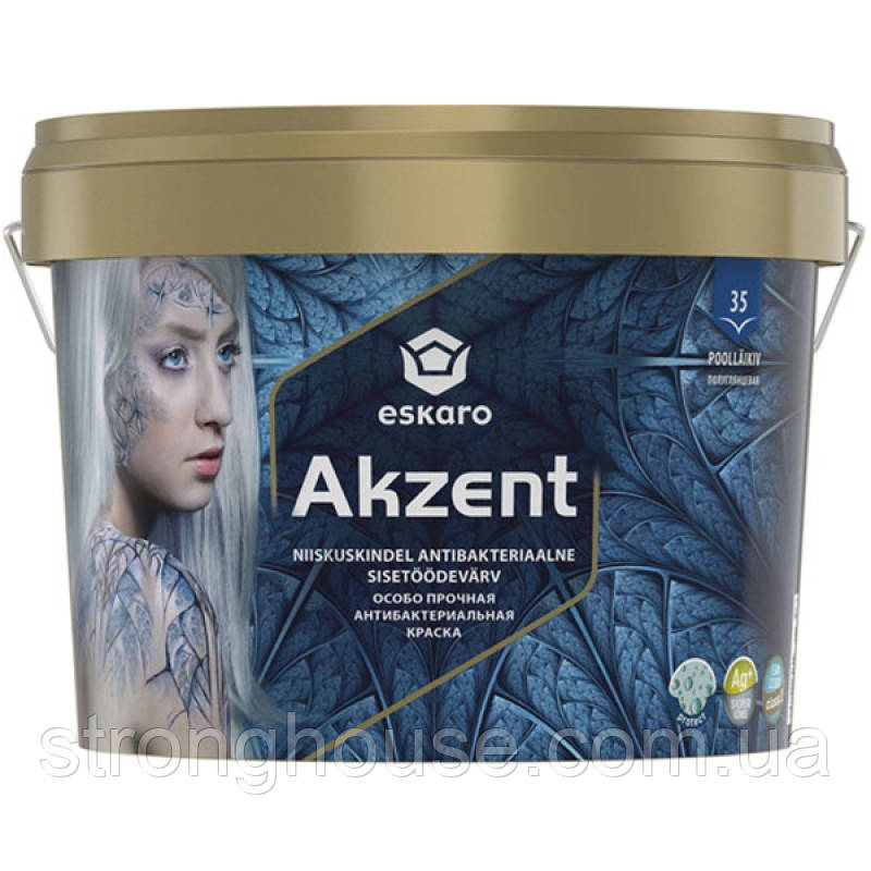 Eskaro Akzent 9л Краска Эскаро Акцент водостойкая антибактериальная полуглянцевая для откосов, ванной, кухни