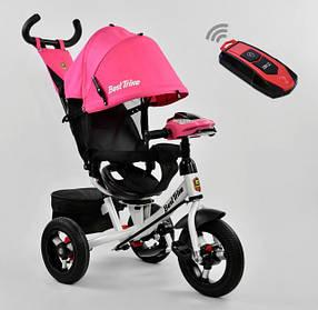 Дитячий триколісний велосипед з пультом Best Trike 7700 B 5151 поворотне сидіння, надувні колеса