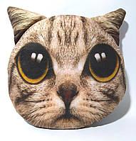 Декоративная подушка с 3D принтом  MP 1298 животное, размер средний, в кульке, 30-28см кот серый