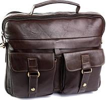 Мужская сумка коричневого цвета из натуральной кожи два отделения