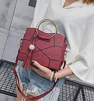 Каркасна сумка з круглими ручками і мозаїкою, фото 2