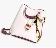 Оригінальна жіноча сумка на затягуванні з атласною стрічкою, фото 3