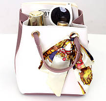 Оригінальна жіноча сумка на затягуванні з атласною стрічкою, фото 2