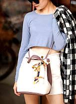 Оригинальная женская сумка на затяжке с атласной ленточкой, фото 2