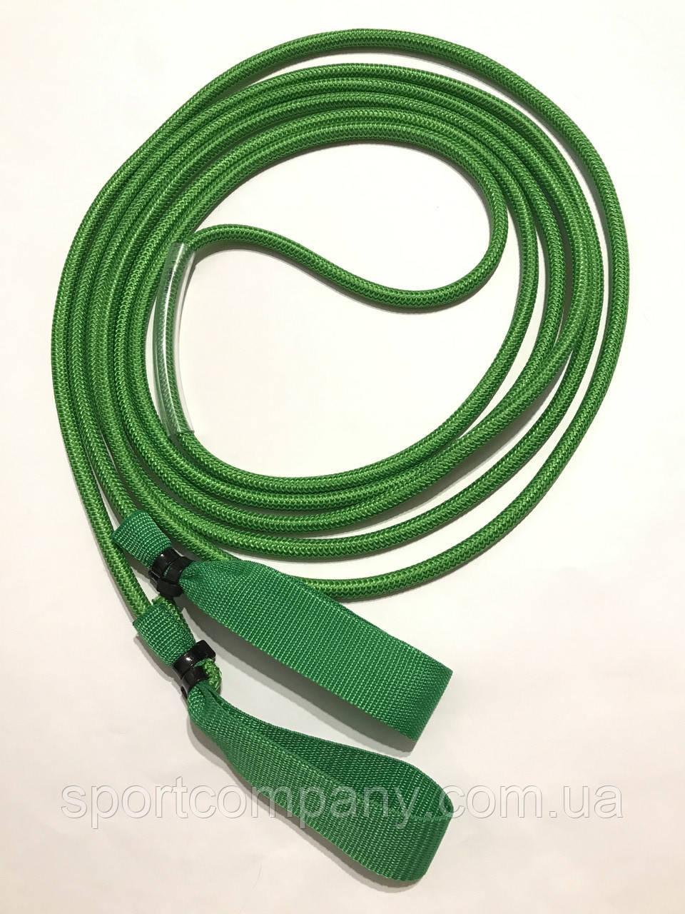 Эспандер для лыжника, боксера, пловца и фитнеса с ручками 10 мм, зеленый, 2 метра.