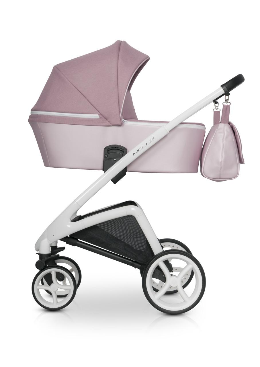 Детская универсальная коляска-люлька Riko Molla 01 Powder Pink (Люлька+рама)