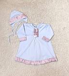 Крестильная рубашка с чепчиком для малышей Ангел (3-9 мес), фото 4